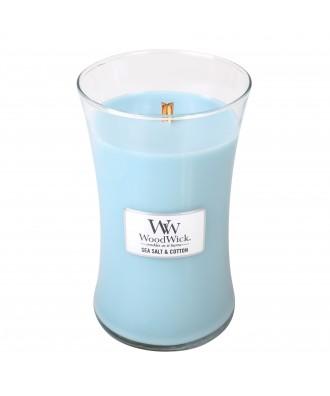Woodwick - Sea Salt & Cotton - Sól Morska i Bawełna - Świeca Zapachowa Duża Core