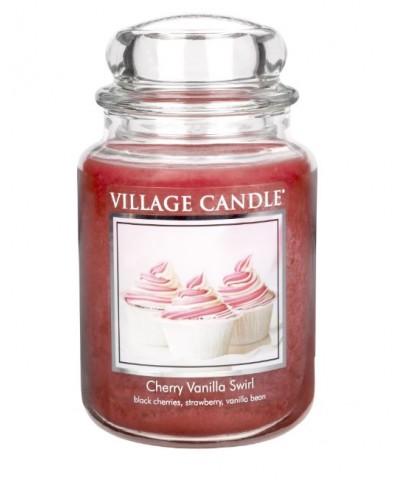 Village Candle - Świeca Duża - Cherry Vanilla Swirl - Wirująca Wiśnia z Wanilią