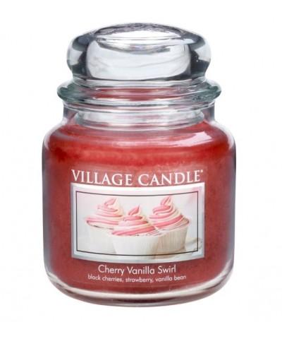 Village Candle - Świeca Średnia - Cherry Vanilla Swirl - Wirująca Wiśnia z Wanilią