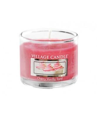 Village Candle - Glass Votive - Cherry Vanilla Swirl - Wirująca Wiśnia z Wanilią