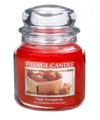 Village Candle - Świeca Średnia - Fresh Strawberries - Świeże Truskawki