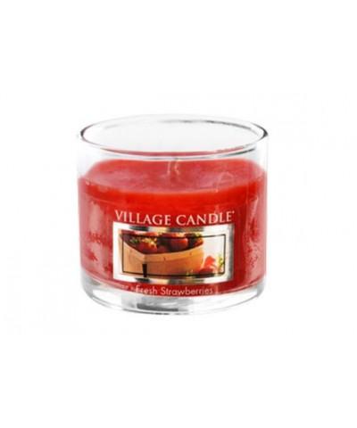 Village Candle - Glass Votive - Fresh Strawberries - Świeże Truskawki