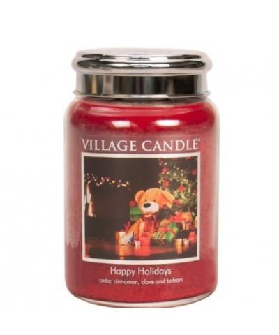 Village Candle - Happy Holidays - Wesołych Świąt - Świeca Duża