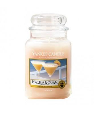 Yankee Candle - Peaches & Cream - Świeca Zapachowa Duża