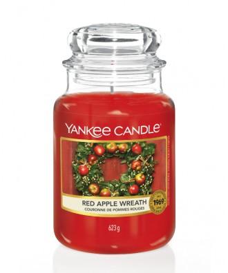 Yankee Candle - Red Apple Wreath - Świeca Zapachowa Duża - Świąteczny Stroik