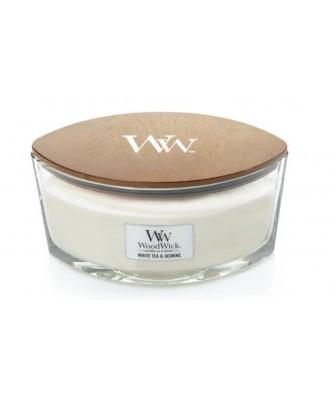 Woodwick - White Tea & Jasmine - Świeca Zapachowa Elipsa Hearthwick Flame