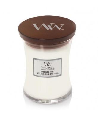 Woodwick - Coconut & Tonka - Świeca Zapachowa Średnia