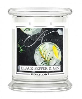 Kringle Candle - Black Pepper & Gin - Świeca Zapachowa Średnia 2 Knoty