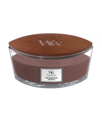 Woodwick - Stone Washed Suede - Świeca Zapachowa Elipsa Hearthwick Flame