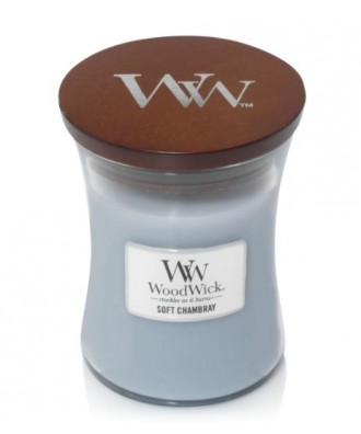 Woodwick - Soft Chambray - Świeca Zapachowa Średnia Core