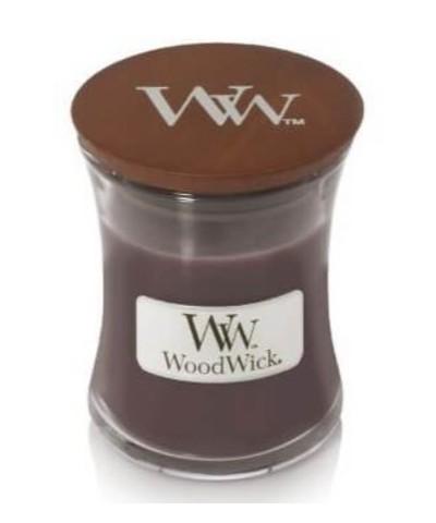 Woodwick - Sueded Sandalwood - Świeca Zapachowa Mała Core - Zamsz i Drzewo Sandałowe