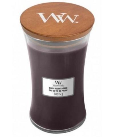 Woodwick - Black Plum Cognac - Świeca Zapachowa Duża