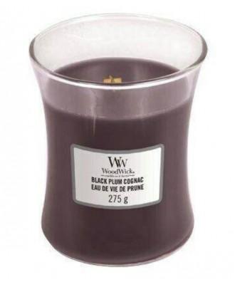 Woodwick - Black Plum Cognac - Świeca Zapachowa Średnia