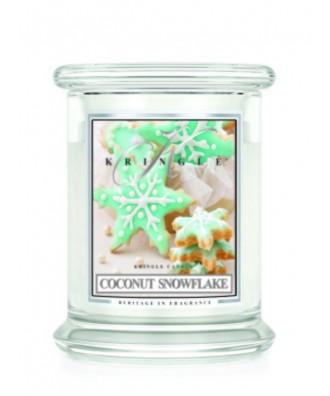 Kringle Candle - Coconut Snowflake - Kokosowy Płatek Śniegu - Świeca Zapachowa Średnia 2 Knoty