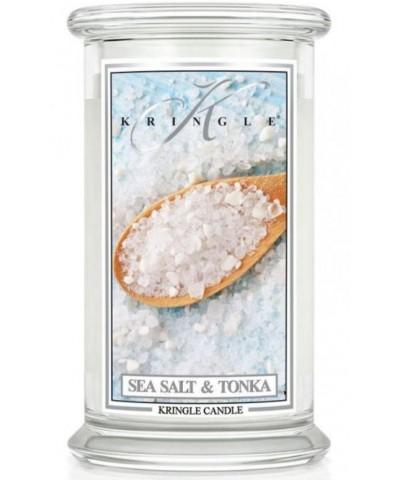 Kringle Candle - Sea Salt & Tonka - Świeca Zapachowa Duża 2 Knoty