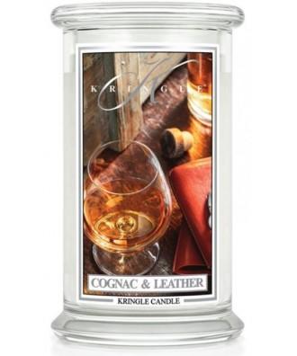 Kringle Candle - Cognac & Leather - Świeca Zapachowa Duża 2 Knoty