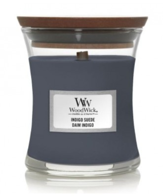 Woodwick - Indigo Suede - Świeca Zapachowa Mała Core