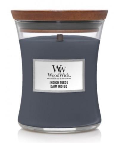 Woodwick - Indigo Suede - Świeca Zapachowa Średnia Core
