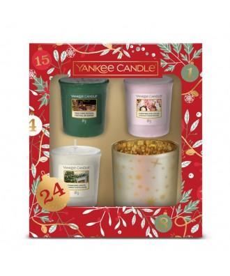 Yankee Candle - Zestaw Prezentowy Countdown To Christmas - 3 Świece Votive + Świecznik