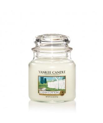 Yankee Candle - Clean Cotton - Czysta Bawełna - Świeca Zapachowa Średnia